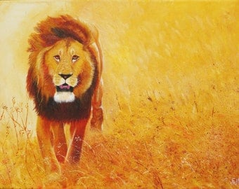Dusty the Lion Limited Edition Framed Print of Oil Painting
