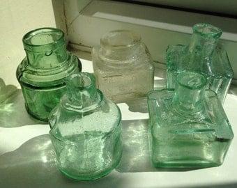 5 Antique victorian inkbottles