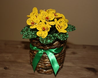 Handmade, french beaded flowers in decorative basket,yellow violet, home decor