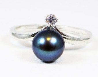 Black Pearl and CZ Ring, 925 Sterling Silver, June Birthstone Ring, Natural Black Pearl Ring, CZ Accent Ring