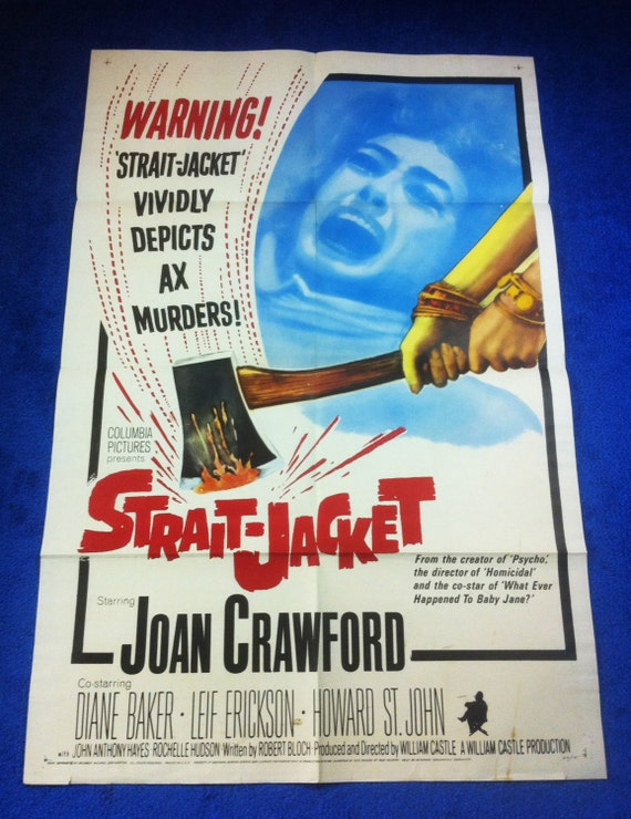 STRAIT-JACKET Original Vintage Theatrical Folded One-Sheet Movie Poster. Directed by William Castle