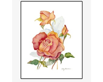 """Red and Yellow Rose giclee print of an original watercolor painting on 100% cotton rag, natural white, 20"""" x 24"""" matted and backed"""