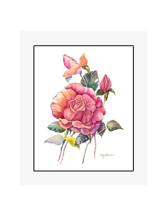 "Red Rose giclee print of an original watercolor painting on 100% cotton rag, soft texture, natural white, 20"" x 24"" matted and backed"