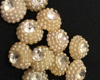 12 vintage cream buttons with rhinestone center - 9/16""