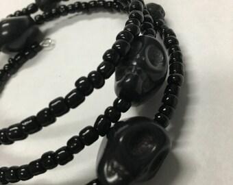 Black Skull Wrap Bracelet