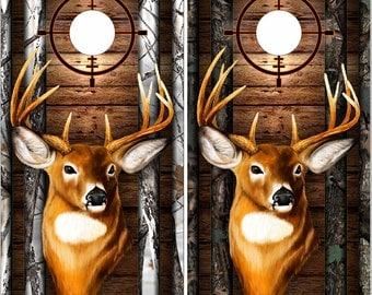 Deer Buck Head Dark Wood Camo LAMINATED Cornhole Wrap Bag Toss Decal Baggo Skin Sticker Wraps