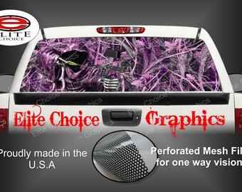 Bow Reaper Tallgrass Pink Camo Rear Window Graphic Tint Decal Sticker Truck SUV Van Car