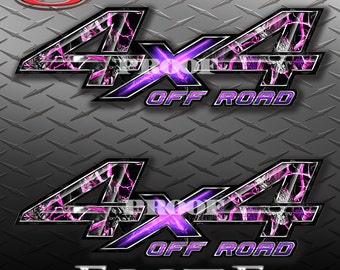 4x4 Off Road Obliteration Skull Pink Camo Camouflage Truck Bed Vinyl Decal Sticker - PAIR