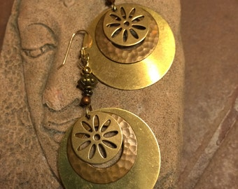 Hammered brass and copper disk earrings