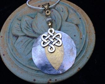 Celtic pendant, Celtic jewelry, Celtic necklace, Irish, Druid, Pagan, hammered silver