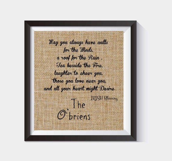Personalized Irish Blessing House Warming Gift Burlap Print