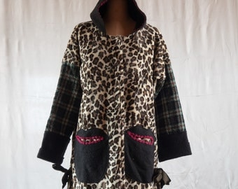 Panther synthetic fur coat