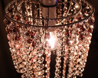 Burgundy, pink and clear K9 refractive crystal ceiling light lampshade