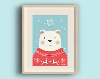 "Postcards ""winter bear hello 2016"""