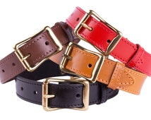 Dog Collar Leather brass buckle Red Brown Black Mustard