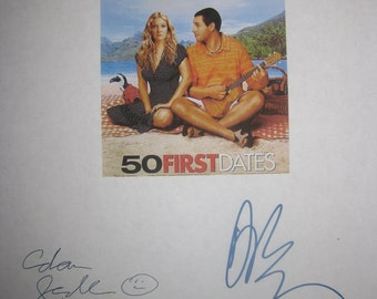 50 First Dates Signed Movie Film Screenplay Script Adam Sandler Drew Barrymore autographs signatures funny film