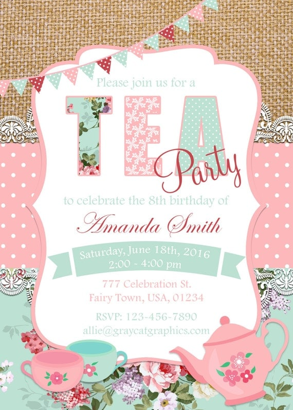 Tea Party Invitation Birthday Tea Party Shabby Chic