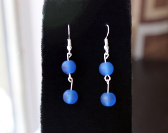 Two Glass Bead Dangle Earrings (various color options)