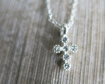 Silver necklace, Tiny cross necklace, Crystal Cross Necklace, Silver Crystal Necklace, Silver Cross Necklace, Silver  Chain, Cross Pendant
