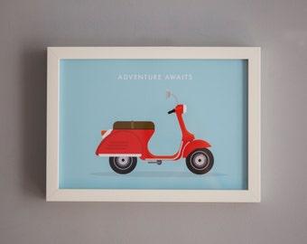Adventure Awaits: Vespa Scooter poster print