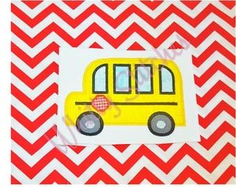 School Bus Embroidery Applique Design-2 sizes