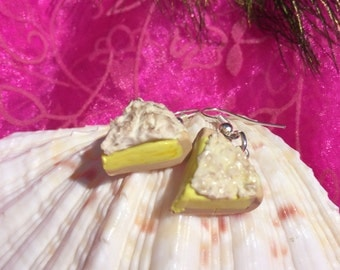 Adorable lemon meringue pie slice earrings