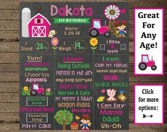 Girls Farm Birthday chalkboard, farm chalkboard, barn, girl farm theme bday, farm animals party, first birthday, second, third, farmer girl