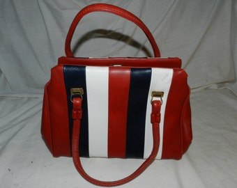 Vintage Red, White and Blue Patriotic Vinyl Handbag - With Brass colored accents - Mid Century Modern - Retro Style Purse              A2-10