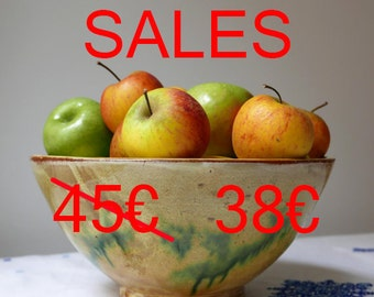 Large wheel-thrown ceramic bowl made of red clay  glazed with ochre and green / diameter 11.41 inches
