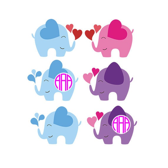 Download Elephant SVG Monogram & Silhouette Cut Files, Digital ...