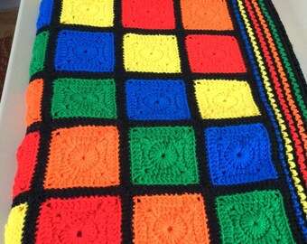 """Multi Colored Square Afghan: Crocheted  56"""" X 80"""""""