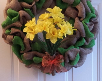 Daffodils off the River Shannon Burlap Wreath