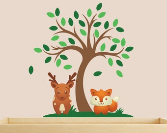 Mini Animal Forest Nursery Wall Decals - Forest Kids Wall Stickers - Animal Kids Wall Decals - Woodland Wall Decal - Nursery Wall Stickers