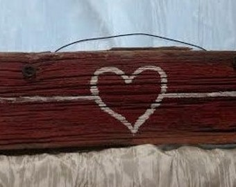 Heart Arrow Barnwood Sign