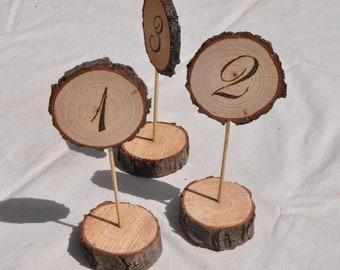 Wood Burned Table Number, Wood Slice Table Numbers, Rustic Table Numbers, Rustic Wedding Table Numbers, Wood Table Number Stands