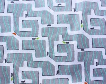 Michael Miller Fabric, Cotton Fabric, Quilt Fabric, Ant Maze, Patty Sloniger, White Grey, Sewing Crafting Supplies, Half Metre