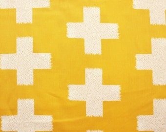 Cross Fabric, Art Gallery Fabric, Designer Fabric, Large size Cross, Yellow, Cotton, Sewing, Crafting, Quilting, Patch, Supplies, Half Metre