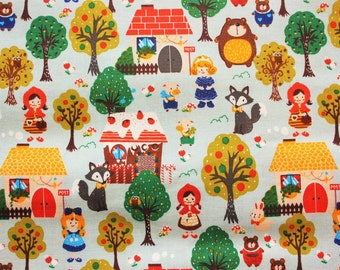 Fat Quarters Cute Kawaii Woodland Animals Fairy Tale Cotton Fabric Modern yet Vintage Blue Perfect For Crafting Quilting Sewing