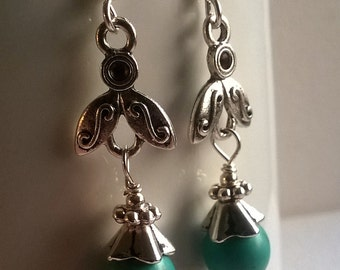 Silver And Turquoise Earrings. Turquoise Earrings. Silver Dangle Earrings. Turquoise Drop Earrings.