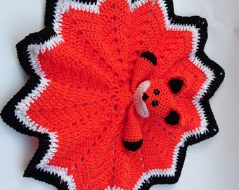 Crochet Fox Baby Comforter / Baby Blankie / Fox Baby Blankie / Orange Fox / Crochet Baby Toy / Fox Baby Toy