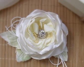 Wedding flower for the bride flower,yellow,flower fabric,rose handmade,flower, white and yellow,hair flower,brooch flower,bridal hair pieces