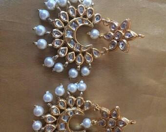 Pihu kundan chandbali earrings, kundan jewellery, jadau jewellery