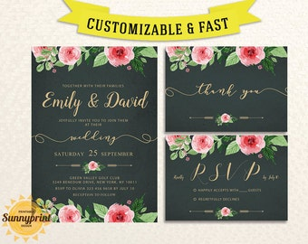 Printable wedding invitation template - Wedding invitation suite - Printable wedding invitation set -  Rustic wedding invitation suite