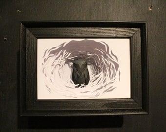 The Silent Guardian. Framed Paper Cut Sculpture.