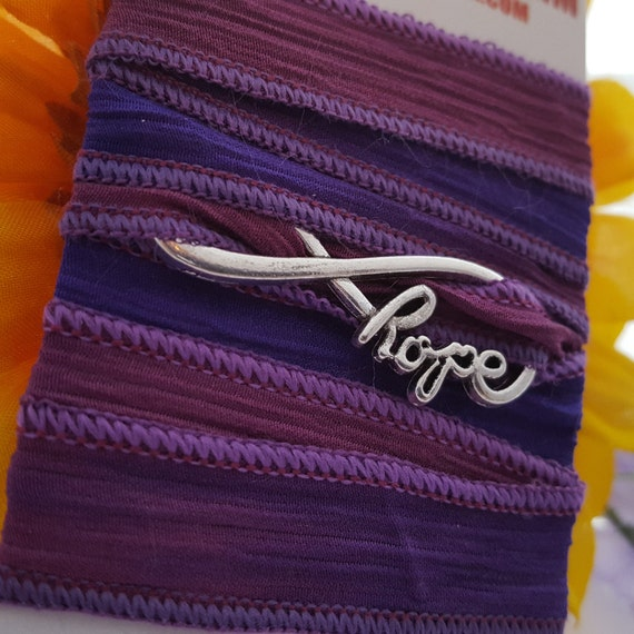 Hope Infinity Charm, Silk Ribbon Wrap Bracelet, Cancer Survivor Jewelry, Infinity Hope Charms, Inspirational Gifts, Cancer Survivor Gifts