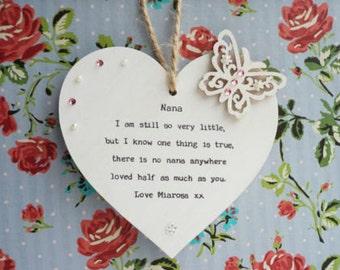 Nana gift personalised Heart Plaque keepsake Grandma Granny Nanny Nannie