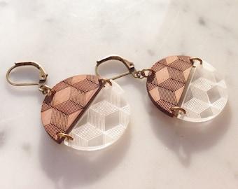 "Earrings ""3D"" in wood and plexi"