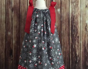 Christmas pillowcase dress, Gray and red pillowcase dress for Christmas, Christmas dress, Christmas pillowcase dress for girls,