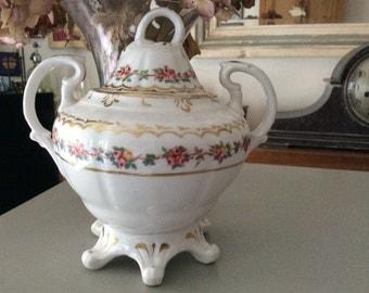 Victorian Hand Painted Bone China Sugar Bowl