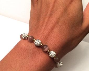 Pink & White Pave Crystal Bracelet